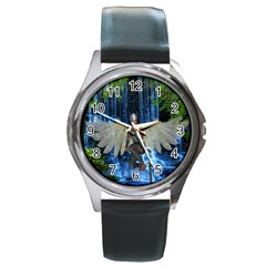 Magic Sword Round Leather Watch (silver Rim)