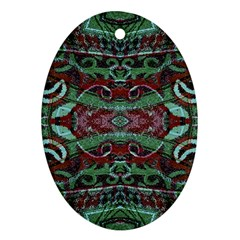 Tribal Ornament Pattern in Red and Green Colors Oval Ornament by dflcprints