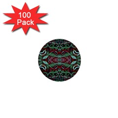 Tribal Ornament Pattern In Red And Green Colors 1  Mini Button (100 Pack) by dflcprints