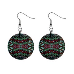Tribal Ornament Pattern In Red And Green Colors Mini Button Earrings