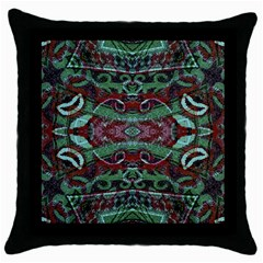 Tribal Ornament Pattern In Red And Green Colors Black Throw Pillow Case by dflcprints