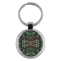 Tribal Ornament Pattern In Red And Green Colors Key Chain (round) by dflcprints