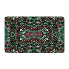Tribal Ornament Pattern In Red And Green Colors Magnet (rectangular) by dflcprints