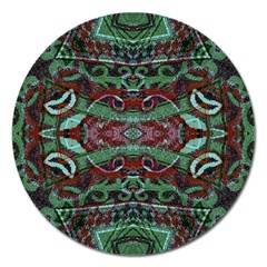 Tribal Ornament Pattern In Red And Green Colors Magnet 5  (round) by dflcprints
