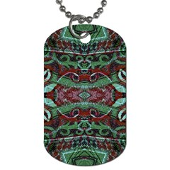 Tribal Ornament Pattern In Red And Green Colors Dog Tag (one Sided) by dflcprints