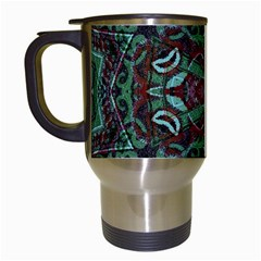 Tribal Ornament Pattern In Red And Green Colors Travel Mug (white) by dflcprints