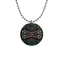 Tribal Ornament Pattern In Red And Green Colors Button Necklace by dflcprints