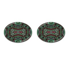 Tribal Ornament Pattern In Red And Green Colors Cufflinks (oval) by dflcprints