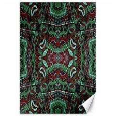 Tribal Ornament Pattern In Red And Green Colors Canvas 20  X 30  (unframed) by dflcprints