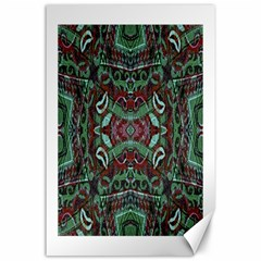 Tribal Ornament Pattern In Red And Green Colors Canvas 24  X 36  (unframed) by dflcprints