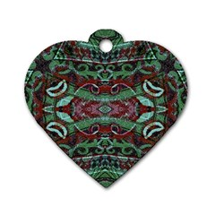 Tribal Ornament Pattern In Red And Green Colors Dog Tag Heart (one Sided)  by dflcprints