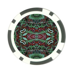 Tribal Ornament Pattern In Red And Green Colors Poker Chip by dflcprints