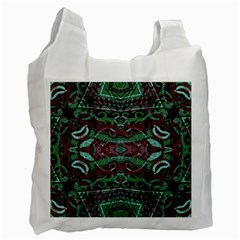 Tribal Ornament Pattern In Red And Green Colors White Reusable Bag (two Sides) by dflcprints