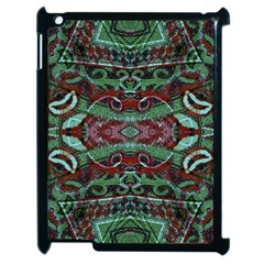 Tribal Ornament Pattern In Red And Green Colors Apple Ipad 2 Case (black) by dflcprints
