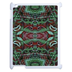 Tribal Ornament Pattern In Red And Green Colors Apple Ipad 2 Case (white) by dflcprints