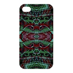 Tribal Ornament Pattern In Red And Green Colors Apple Iphone 4/4s Hardshell Case by dflcprints