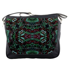 Tribal Ornament Pattern In Red And Green Colors Messenger Bag by dflcprints
