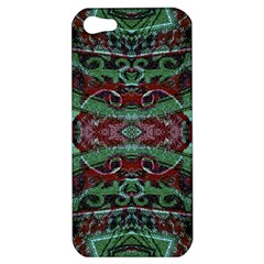 Tribal Ornament Pattern In Red And Green Colors Apple Iphone 5 Hardshell Case by dflcprints