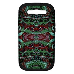 Tribal Ornament Pattern In Red And Green Colors Samsung Galaxy S Iii Hardshell Case (pc+silicone)