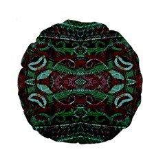 Tribal Ornament Pattern In Red And Green Colors 15  Premium Round Cushion  by dflcprints