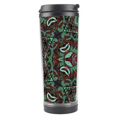 Tribal Ornament Pattern In Red And Green Colors Travel Tumbler by dflcprints