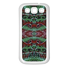 Tribal Ornament Pattern In Red And Green Colors Samsung Galaxy S3 Back Case (white) by dflcprints