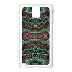 Tribal Ornament Pattern In Red And Green Colors Samsung Galaxy Note 3 N9005 Case (white) by dflcprints
