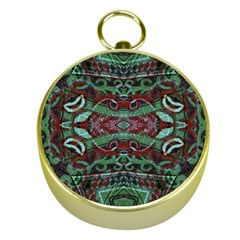 Tribal Ornament Pattern In Red And Green Colors Gold Compass by dflcprints