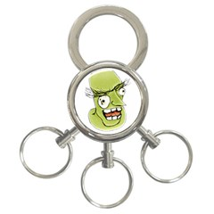 Mad Monster Man With Evil Expression 3 Ring Key Chain by dflcprints