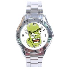 Mad Monster Man With Evil Expression Stainless Steel Watch by dflcprints