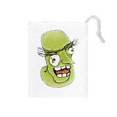 Mad Monster Man With Evil Expression Drawstring Pouch (medium) by dflcprints
