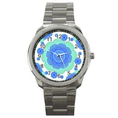 Retro Style Decorative Abstract Pattern Sport Metal Watch by dflcprints
