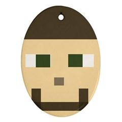Custom Block Head Oval Ornament