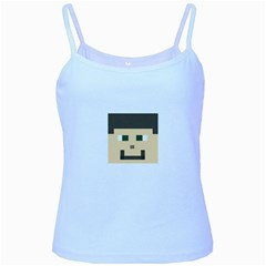 Custom Block Head Baby Blue Spaghetti Tank