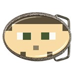 CUSTOM block head Belt Buckle (Oval) Front