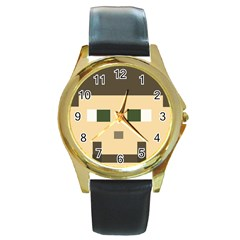 Custom Block Head Round Leather Watch (gold Rim)
