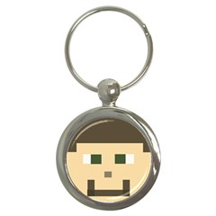 Custom Block Head Key Chain (round) by BlockCrafts