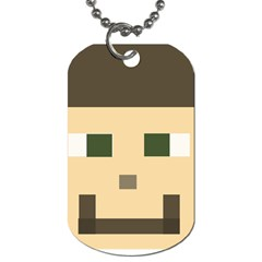 Custom Block Head Dog Tag (two Sided)  by BlockCrafts
