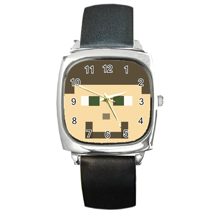 CUSTOM block head Square Leather Watch