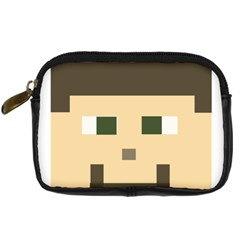 Custom Block Head Digital Camera Leather Case by BlockCrafts