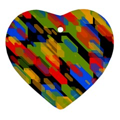 Colorful Shapes On A Black Background Ornament (heart) by LalyLauraFLM