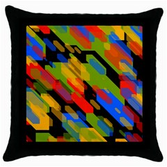 Colorful Shapes On A Black Background Throw Pillow Case (black) by LalyLauraFLM