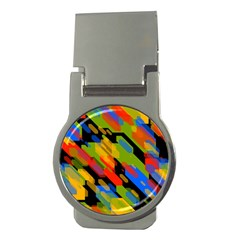 Colorful Shapes On A Black Background Money Clip (round) by LalyLauraFLM