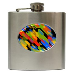 Colorful shapes on a black background Hip Flask (6 oz) by LalyLauraFLM