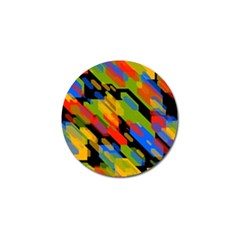 Colorful Shapes On A Black Background Golf Ball Marker by LalyLauraFLM