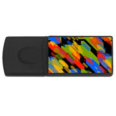 Colorful shapes on a black background USB Flash Drive Rectangular (4 GB) by LalyLauraFLM