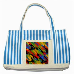 Colorful Shapes On A Black Background Striped Blue Tote Bag by LalyLauraFLM
