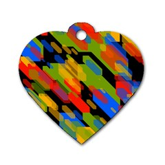 Colorful shapes on a black background Dog Tag Heart (One Side) by LalyLauraFLM