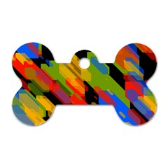 Colorful Shapes On A Black Background Dog Tag Bone (two Sides) by LalyLauraFLM