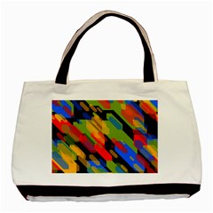 Colorful Shapes On A Black Background Classic Tote Bag (two Sides) by LalyLauraFLM